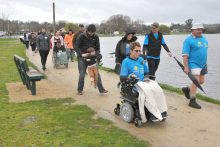 Solid support for lakeside walk
