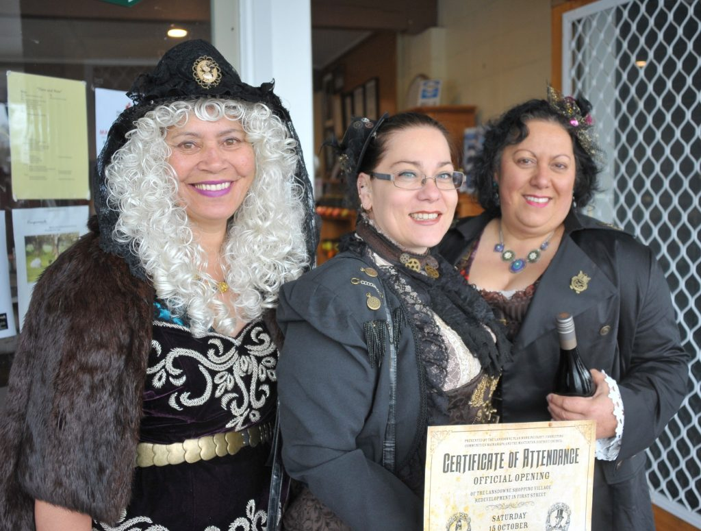 Kathy Savage, Katey Salmond, Gaylene van Wijk dress up for the occasion in their steam punk costumes. PHOTO/CHRIS KILFORD