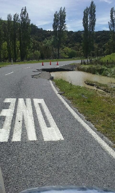 Heavy rain in Wairarapa overnight on Monday caused significant damage to White Rock Rd, South Wairarapa. PHOTO/SUPPLIED