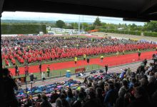 World record haka attempt, Memorial Park Masterton, Wednesday, half of over view (right side) PHOTO/CHRIS KILFORD