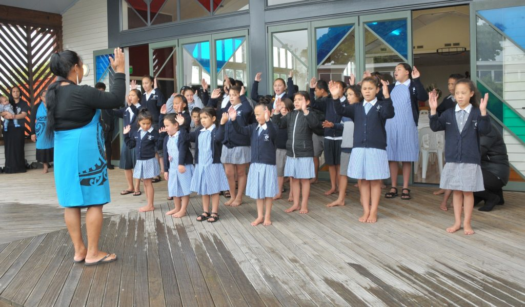 Waiata practice under the guidance of Lily Arahanga. PHOTO/CHRIS KILFORD