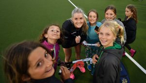 Reidy signs autographs after the Black Sticks clinched the Trans-Tasman Trophy. PHOTO/PLANET HOCKEY