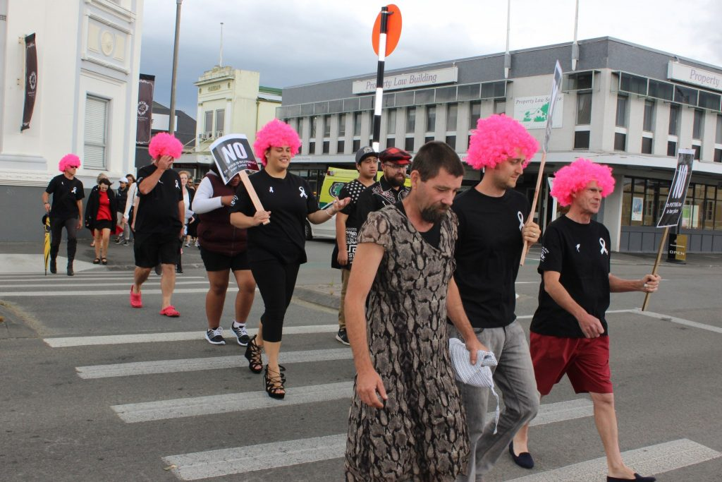 Masterton District Council staff wore bright pink wigs for the walk. PHOTO/EMILY NORMAN