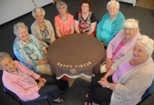 Wairarapa Happy Circle closing members clockwise from front left Joan Tristram, Marlene Henwood, Alma Smith, Joyce Greig (president), Wendy Greig, Thelma McKenzie, Olive Kippen and Shirley Castle. PHOTO/GERALD FORD