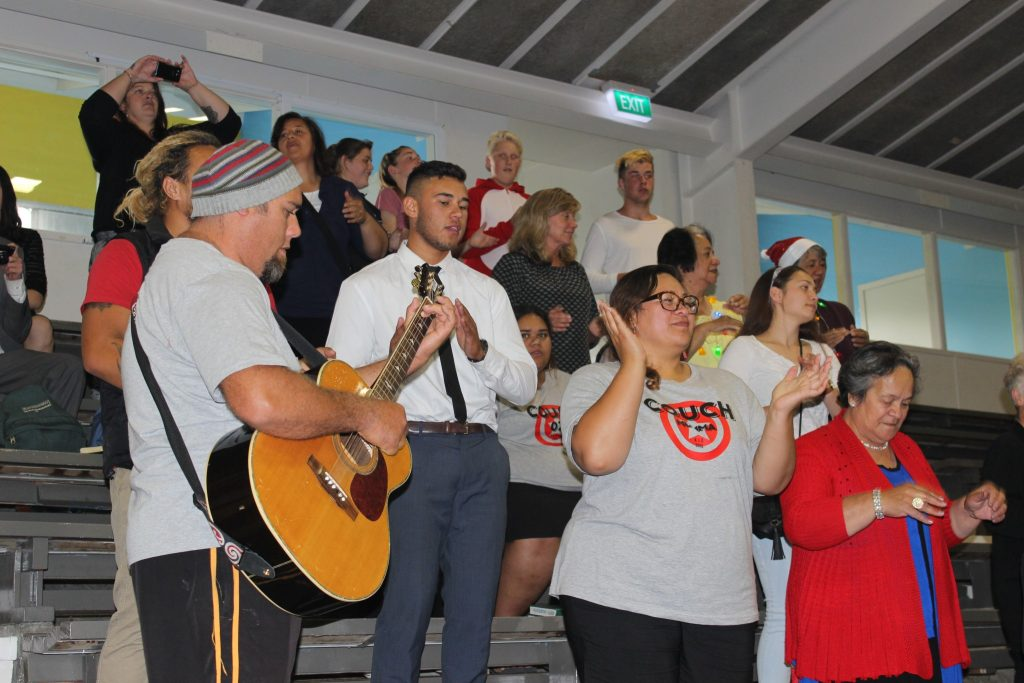 Members of The Church of Jesus Christ of Latter Day Saints and friends provide musical entertainment for guests. From left, Ben, Tuakana, and Kiri Riwai Couch, and Paremo Matthews. PHOTO/EMILY NORMAN
