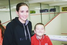wta130117suphymers.jpg: Grace Hymers with junior Eoin Ryan from the Mana club.Photo/supplied.