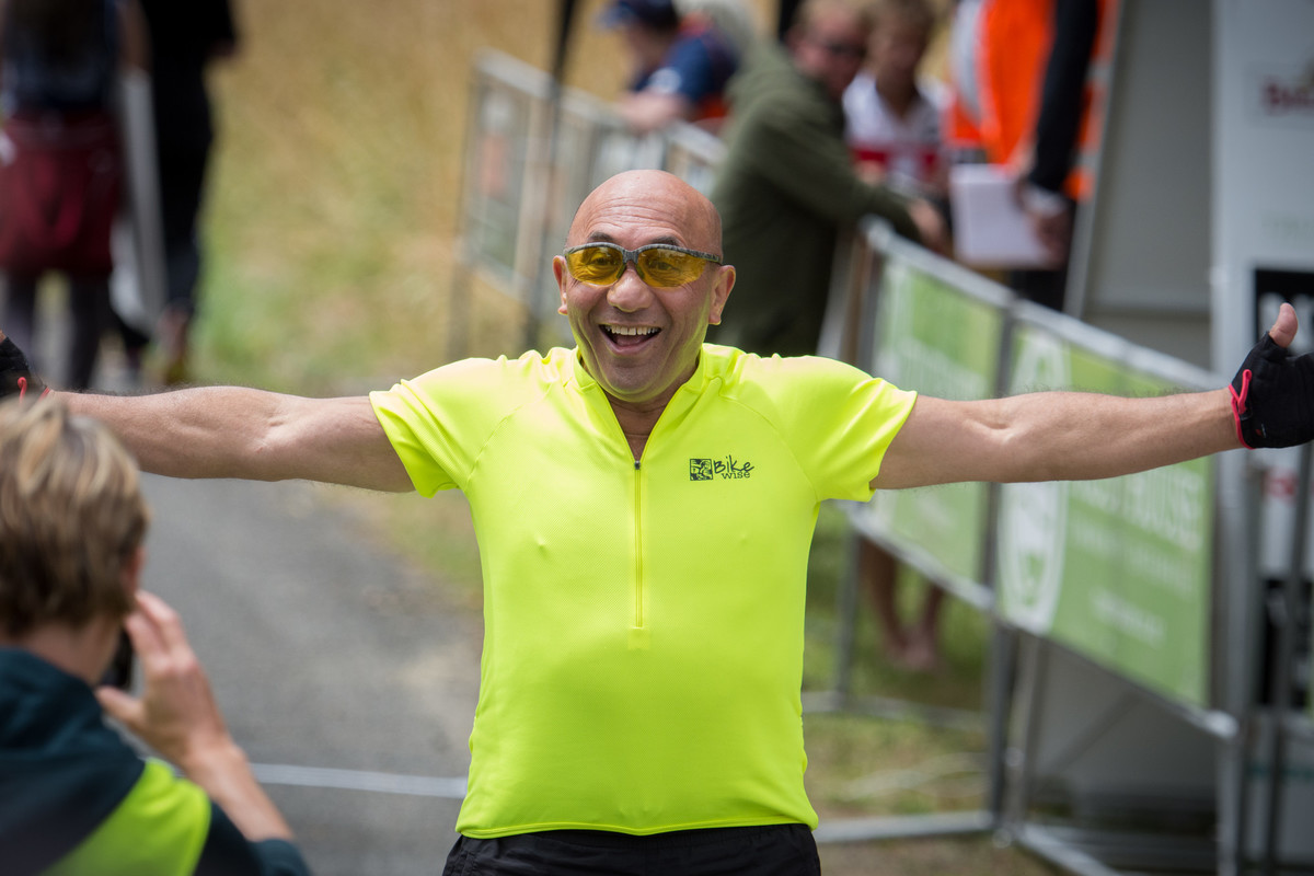 A happy MP Ron Mark at the finish on Admiral Hill. PHOTO/JADE CVETKOV