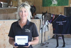 Jenny Champion with the distinctive buckle award given to winners of the 160km event PHOTO/CHELSEA BOYLE