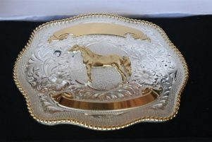 A closer look at the winner's buckle.