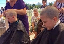 Phoebe Wylie and Lily Allan shaved their heads to raise awareness for bowel cancer sufferers. PHOTO/SUPPLIED