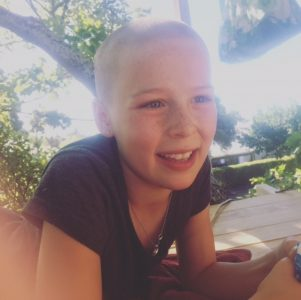 Phoebe Wylie after her head was shaved. PHOTO/SUPPLIED