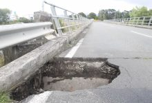 A 75cm hole in the bridge over the Tauherenikau River on SH53, between Featherston and Martinborough. PHOTO/GERALD FORD