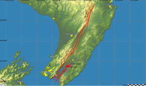 The flight trace of Keith Essex's five-point-turn 1000km glide.