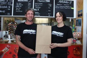 Castlepoint Store owners Joe and Paula Vermeer have replaced plastic bags with paper ones. PHOTO/EMILY NORMAN