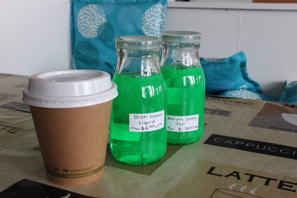 Dish washing liquid is sold in jars now. Biodegradable coffee cups have also been phased in. PHOTO/EMILY NORMAN