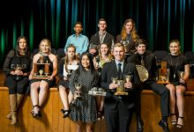 Taratahi's top graduates show off their awards. PHOTO/SUPPLIED