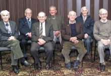 A June 2003 photo taken at a luncheon, after the Wairarapa Branch of the Ex-Prisoners of War Association had disbanded. From left, Frank Brasell, John Peck, Colin Dean, who served in the RNZAF and wasn't a POW but was the association's long-serving auditor, Jim Simmonds, of Featherston, the last remaining member, David Bowie, Art Steffert, Roy Morris, Ian Blackman and Bob Faulknor. PHOTO/WAIRARAPA ARCHIVE