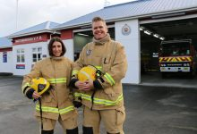 Martinborough firefighters Melinda Coleman, left, and Rob Brown are competing in the Sky Tower Challenge. PHOTO/HAYLEY GASTMEIER