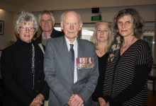 Haddon Donald surrounded by his children, (left) Robyn, Andrew, Anne and Fiona. PHOTO/JADE CVETKOV