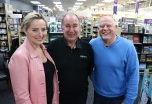 Paper Plus Masterton's new owners Sarah and Warwick Delmonte, with Russell Carthew (centre), who is hanging up his hat after 59 years in book retail. PHOTO/HAYLEY GASTMEIER