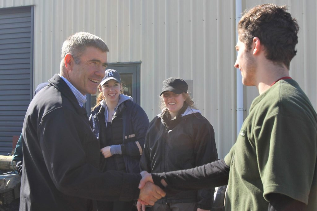 National MP for Otaki Nathan Guy meets first year veterinary student Con TenCate.