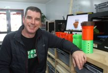 John Hart of Masterton's Fab Lab with his 3D printed RiverWatch prototype. PHOTO/EMILY NORMAN