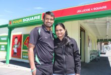 wta251017hgpatel.jpg: Hiran Patel, who became a New Zealand citizen on Wednesday, with wife Hemlata outside their Martinborough business. PHOTO/HAYLEY GASTMEIER