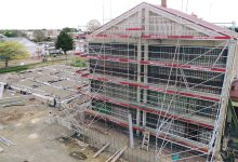 Work to reinforce Martinborough's historic town hall is well underway. PHOTO/WAIRARAPA AERIAL IMAGING