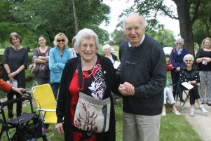 Dame Miriam Dell and Ted Dashfield at the dedication of the National Council of Women's memorial seat for branch founder Helen Dashfield. PHOTO/EMILY NORMAN