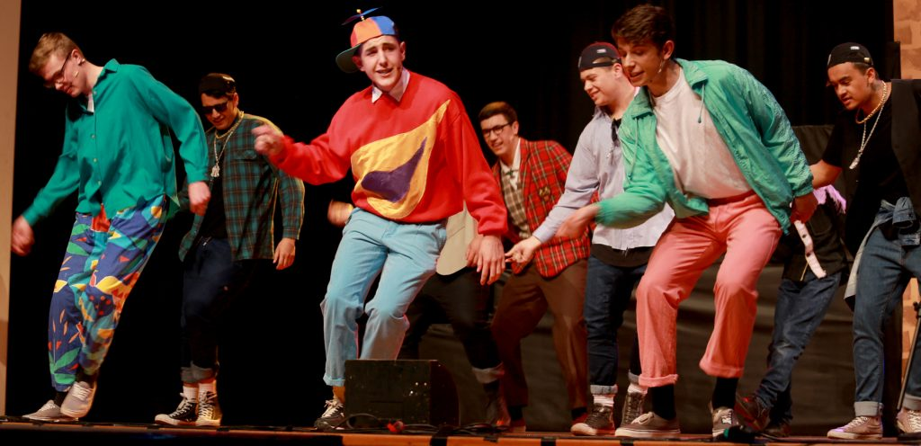 The boys of William Ocean High School boogie down to Footloose (L-R): James Thompson, Joe Roberts, Jackson Burling, Chris Dickson, Ryan Hargood, Mikael Starzynski and Vincent Aspinall. PHOTO/SUZANNE OLIVER