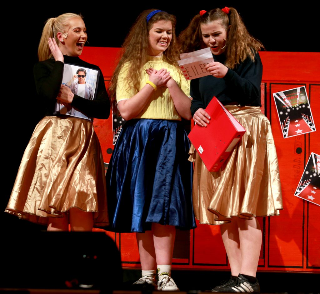 Alex Shearer (right) as the new girl in school with Millie Moser (left) and Molly O'Hagan (middle). PHOTO/SUZANNE OLIVER