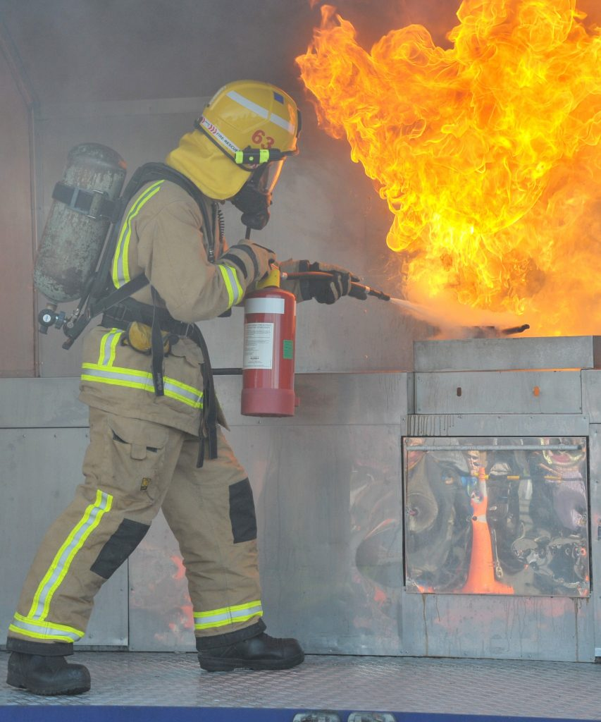 Featherston Fire Brigade showed the crowd at the Mini Fell Train Carnival what can happen when a fry pan is left unattended. PHOTO/CHRIS KILFORD