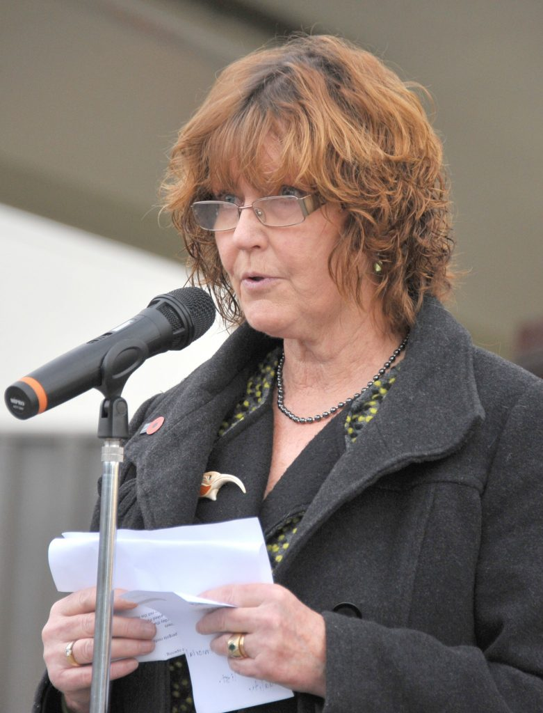 Mayor Adrienne Staples declares the Square open. PHOTO/CHRIS KILFORD