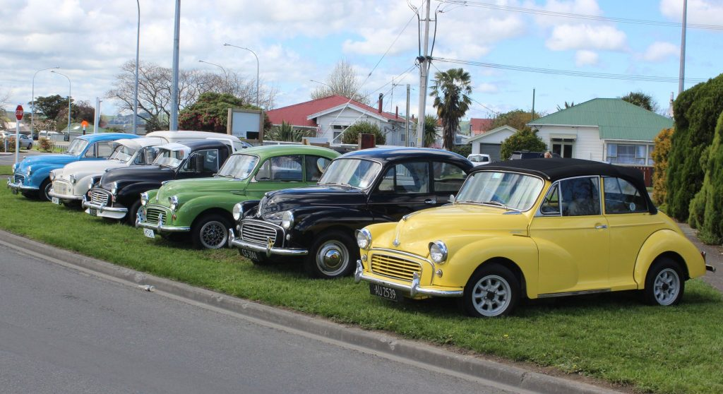 Morris Minors lined up outside The Village Chapel in Kuripuni. PHOTO/EMILY NORMAN