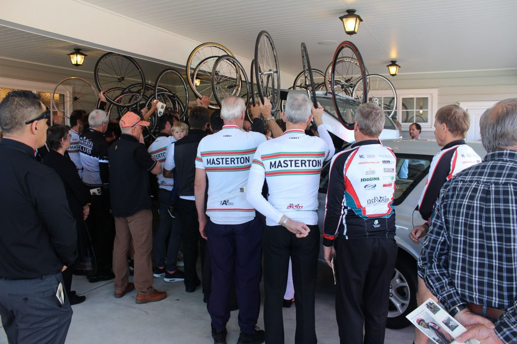 A cyclist Guard of Honour for Mr Chesmar. PHOTO/EMILY NORMAN