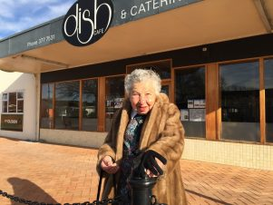 Former Lansdowne shop owner Kitty Muir outside Dish Cafe. PHOTO/SUPPLIED