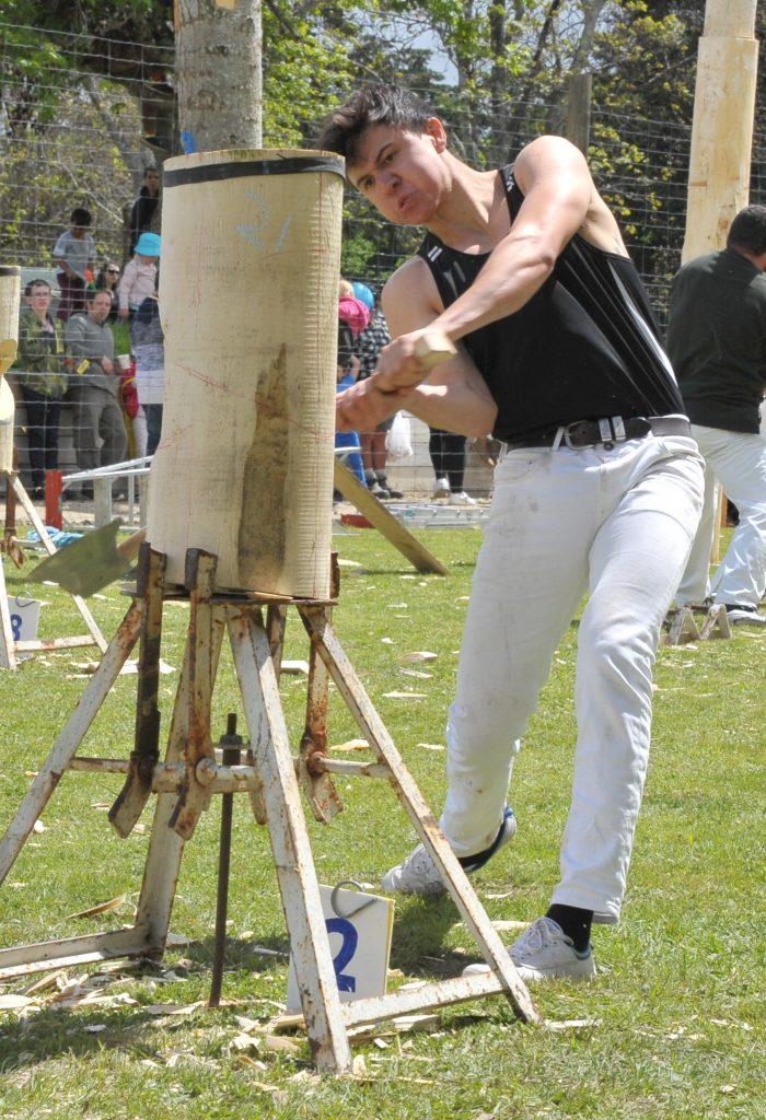 Quintin Fawcett, of Masterton, wins his heat of the Ted Ferguson Memorial wood chopping event. PHOTO/CHRIS KILFORD