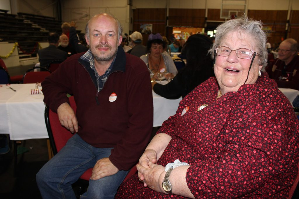 Chris Archer of Woodville and Ann-Marie Bengston of Pahiatua. Ann-Marie has been coming along to the lunch for eight years now. PHOTO/EMILY NORMAN