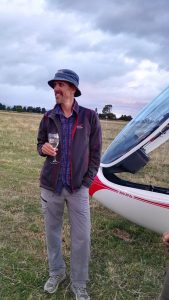Keith Essex celebrating at the Greytown Soaring Centre after his record flight. PHOTOS/SUPPLIED