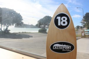 Castlepoint Store's new branding is on the surfboard table numbers. PHOTO/EMILY NORMAN