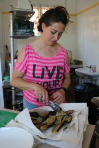 Elisa Romani cooking aubergine for parmigiana. PHOTO/HAYLEY GASTMEIER