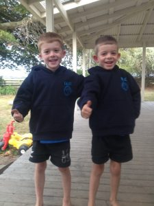 Eli Honeysett, right, with his twin brother Isaac pictured before Eli contracted infectious myelitis. PHOTO/SUPPLIED