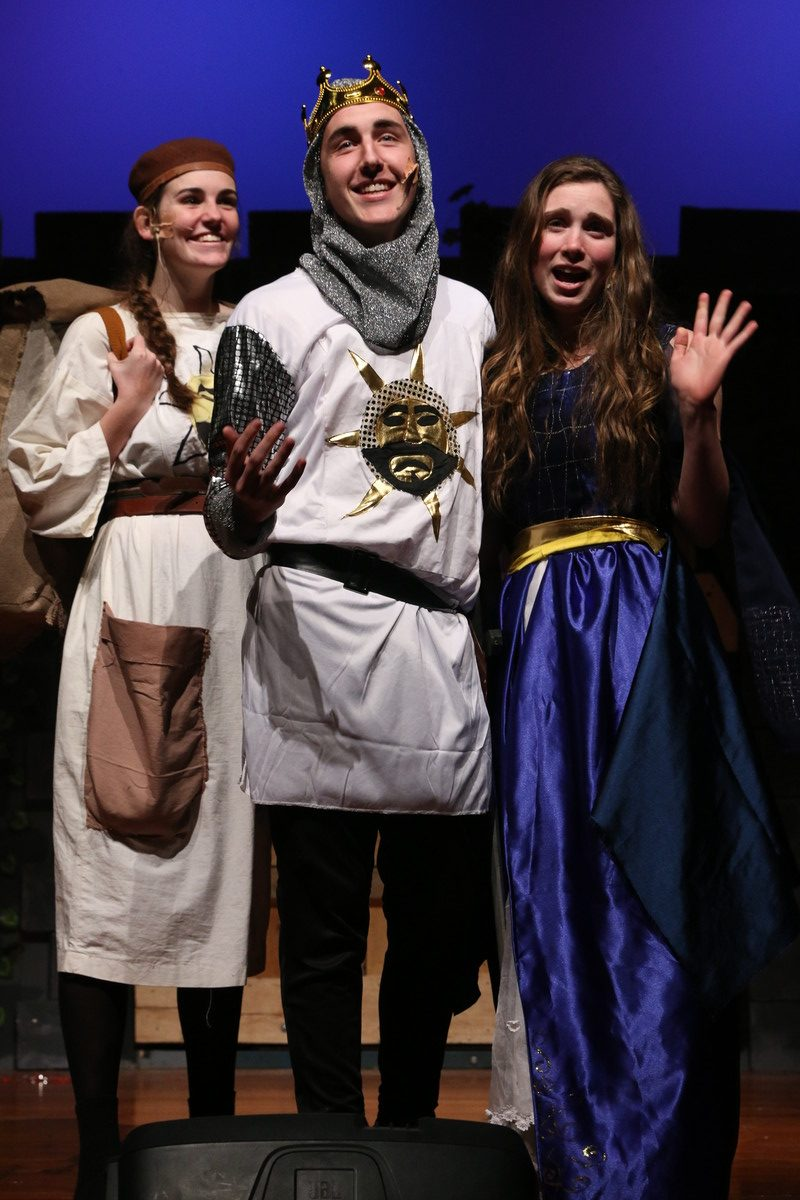 Briar Begg (Patsy), Jackson Burling (King Arthur), and Brooke Robertson (Lady of the Lake). PHOTO/DANIELL MCCOY
