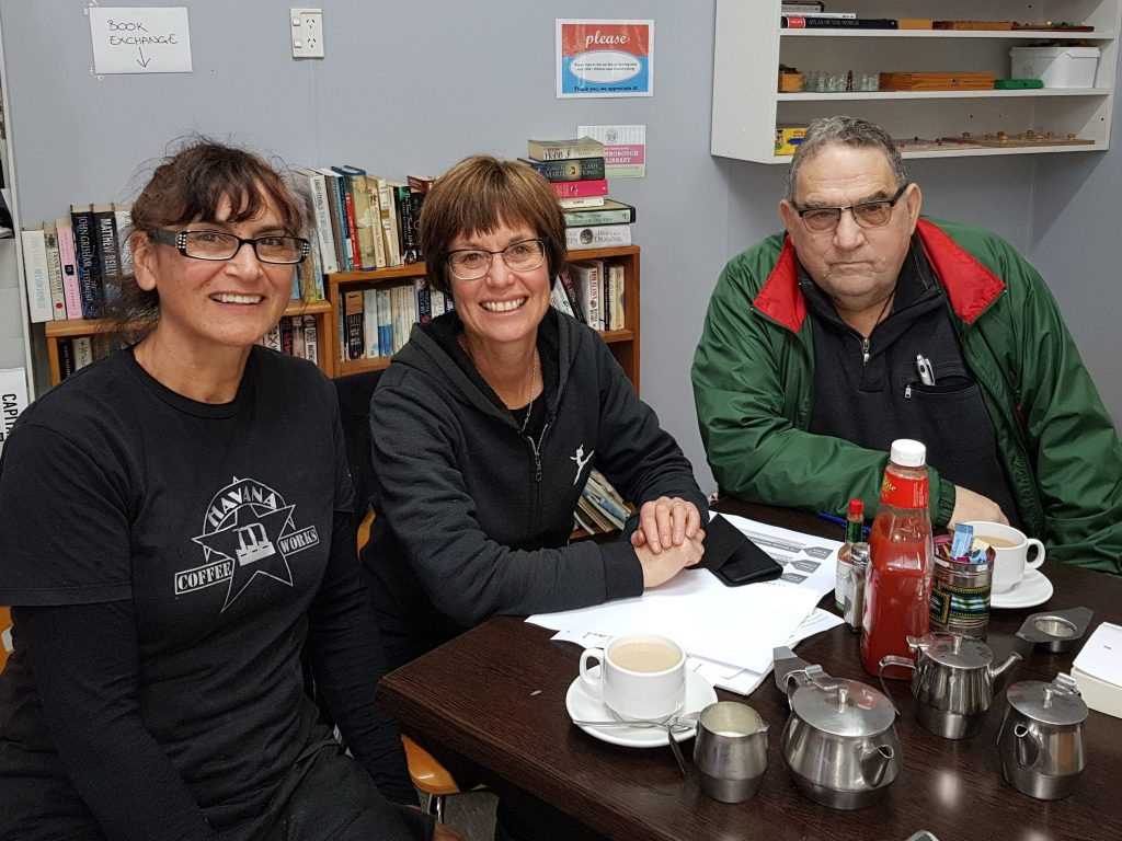 Petition organisers Sue Sullivan, Jill Greathead and Richard Dahlberg met up on Monday to coordinate their efforts. PHOTO/SUPPLIED