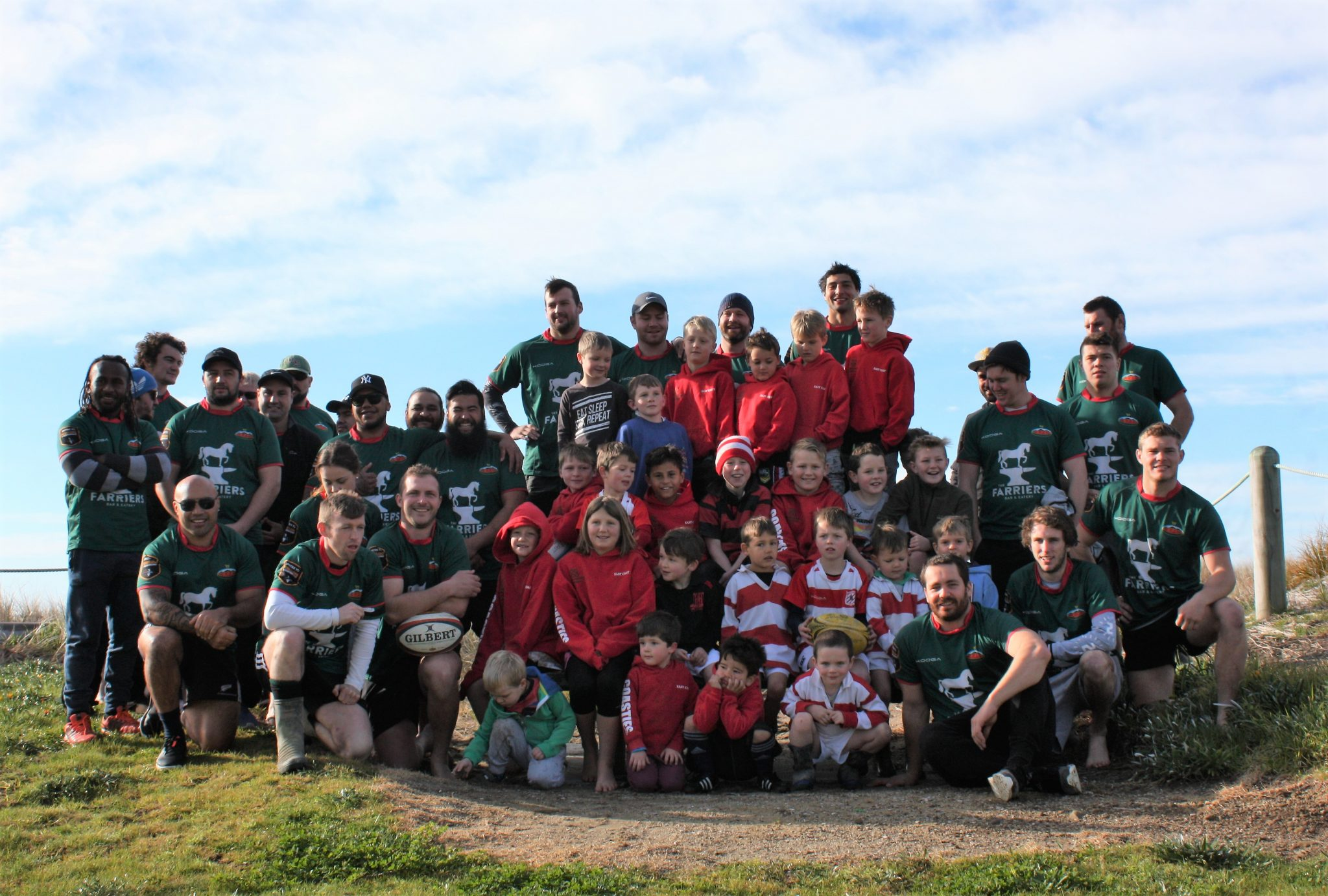 It was a sea of red and green playing rugby at Riversdale Beach. PHOTO/KJ LIDDLE