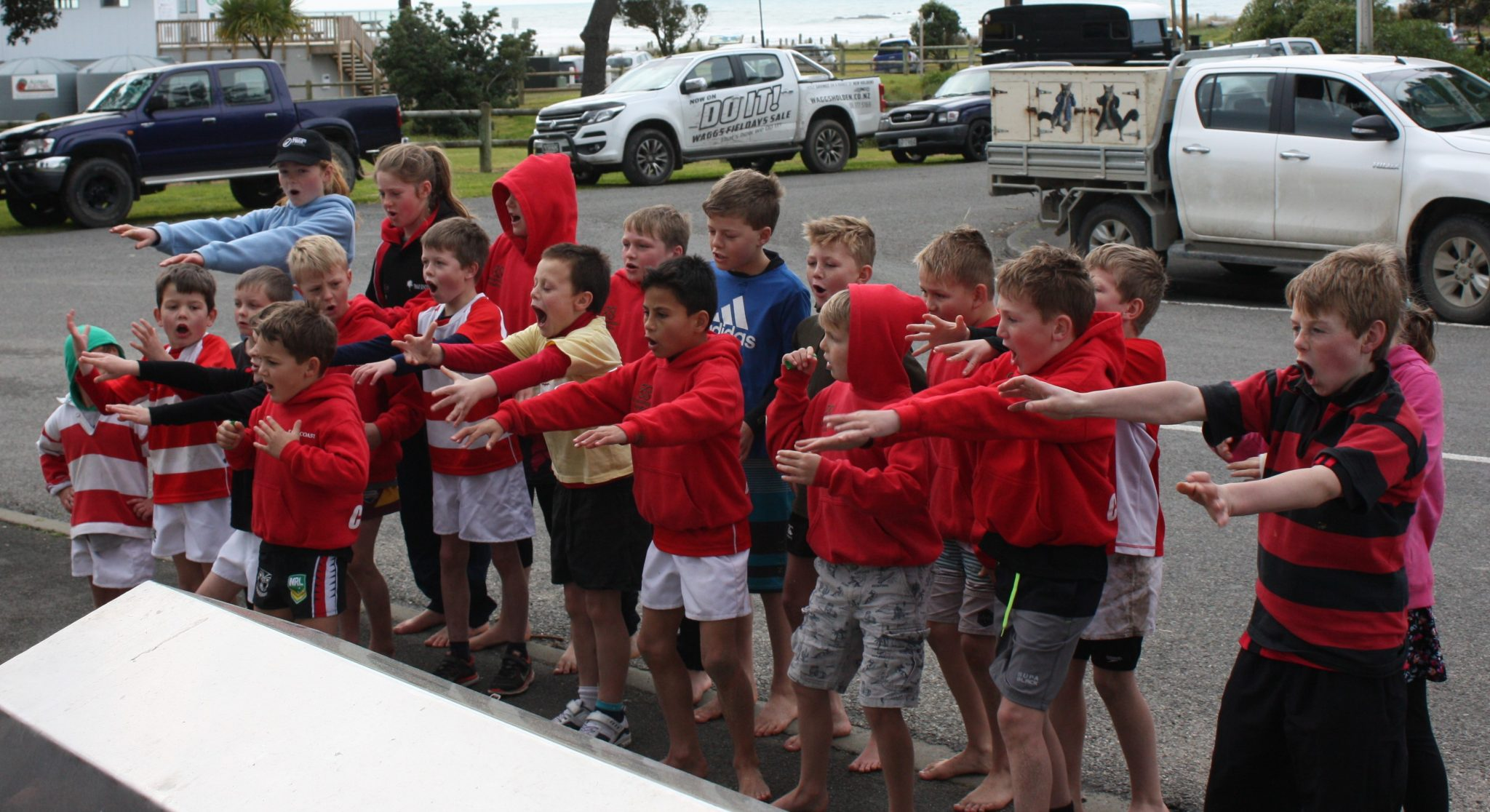 East Coast Junior All Blacks showed their respect for the Wairarapa-Bush team with a haka. PHOTO/KJ LIDDLE