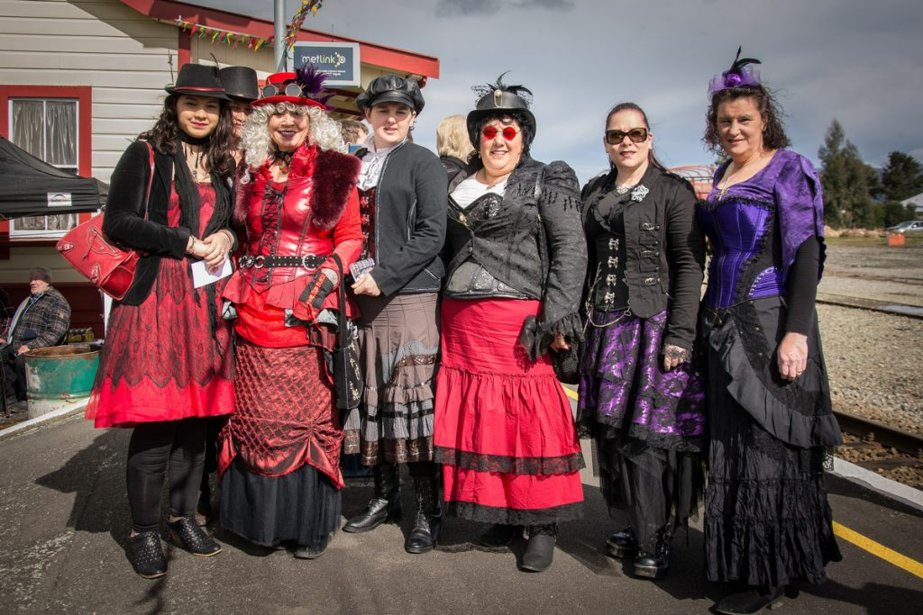 Steampunk enthusiasts at the Carterton Train Station. PHOTO/JADE CVETKOV
