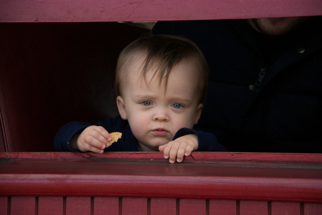 Baby George waving goodbye on the steam train. PHOTO/JADE CVETKOV