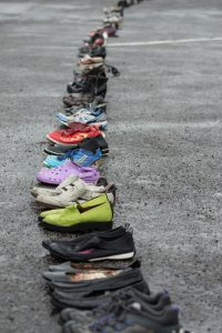 606 pairs of shoes lined the car park. PHOTO/JADE CVETKOV