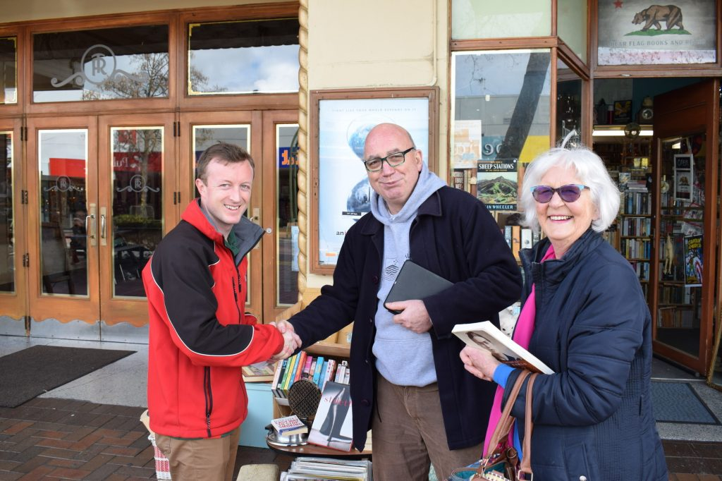 On the campaign trail, Kieran McAnulty meets Chris Eichbaum and Pam Horncy on Queen St in Masterton yesterday. PHOTO/BECKIE WILSON